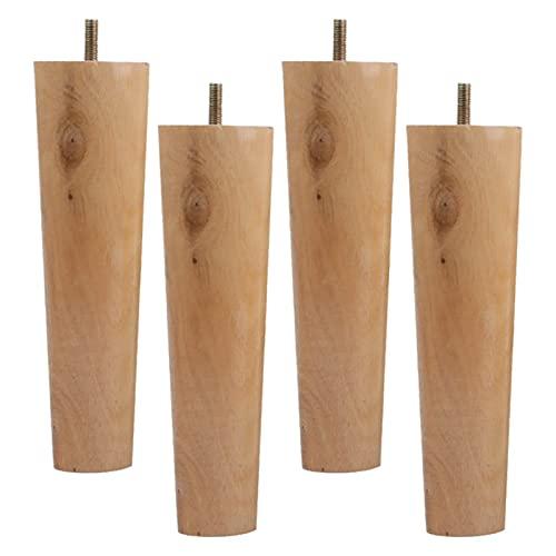 Patas de madera para muebles, patas de gabinetes en forma de cono Straiht de madera maciza Pies de repuesto de madera, para sillon, sillon, escritorio, patas, patas de pie, con placa de montaje y torn