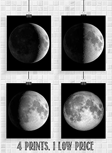Moon Phases - Set of Four 8x10 Unframed Art Prints - Great Gift and Decor for Astronomers, Observatories and Home Under… 7