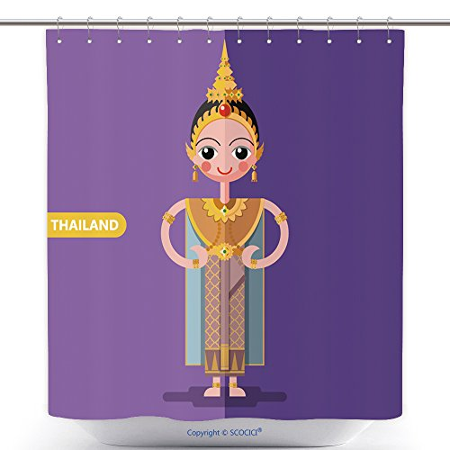 Cool Shower Curtains Thailand National Costumes In Flat Style 465805451 Polyester Bathroom Shower Curtain Set With Hooks - Posh And Beckham Costume