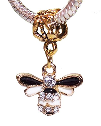 (Bumblebee Bee Black White Rhinestone Gold Plated Dangle Charm for Euro Bracelets Crafting Key Chain Bracelet Necklace Jewelry Accessories Pendants)