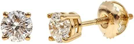 14K Gold Round-Cut Diamond Stud Earring (1/4 - 2 cttw, K-L Color, I2 Clarity)