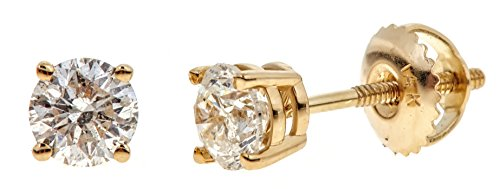 Round Cut Diamond Yellow (14k Yellow Gold Round-Cut Diamond Stud Earrings (1/3cttw, K-L Color, I2 Clarity))