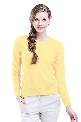 织礼 Zhili Women's Cashmere Pullover Sweater (Small, Yellow)