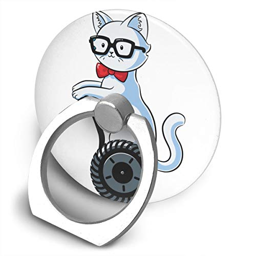 (Yidafunp JUSTFORU Nerdy Cat Cell Phone Ring Stand Holder 360 Degree Rotation Car Mount Phone Finger Stand for Almost All Phones and Cases)