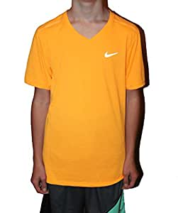 Nike Men's Black Tailwind V-neck Short Sleeve Shirt Size Small (small, bright orange)