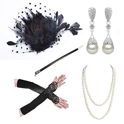1920s Accessories Headband Necklace Gloves Cigarette Holder Flapper Costume Accessories Set for Women(ab2)]()