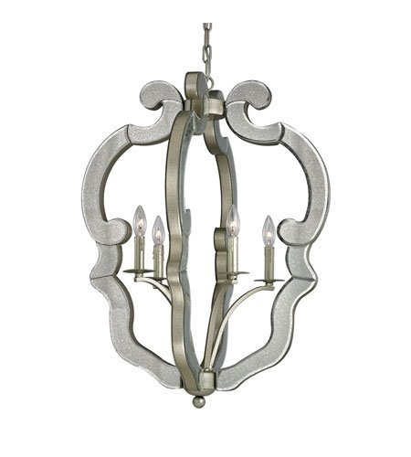 Pendants 4 Light with Speckled Silver Finish Candelabra 24 inch 240 Watts - World of Lamp ()