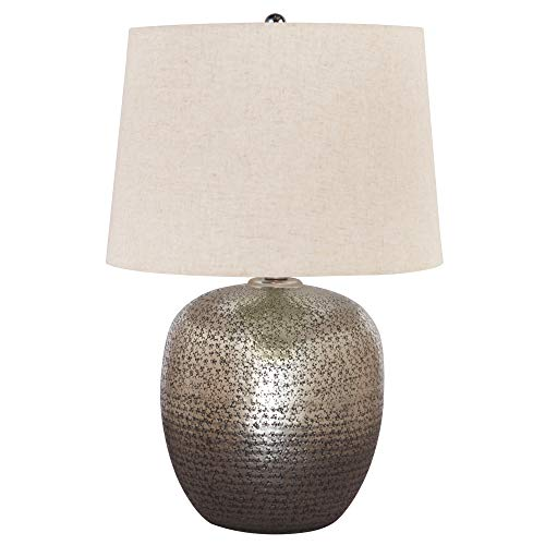 - Ashley Furniture Signature Design - Magalie Metal Table Lamp - Antique Silver Finish