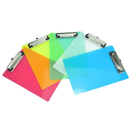 Timoo Mini Clipboard, 8.85''x6.14'' Cute Colorful Plastic Strong Clipboard for Memo, Offices, Restaurants - Holds 100 Sheets Paper (5 Pcs, 5 Colors) -