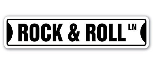 Rock & Roll Street Sign Gift Fame Music Band Guitar Musician Star On Dance Play Wall Sign Decorative Safety Sign Gift Metal Aluminum Plaque (Roll Street Rock)