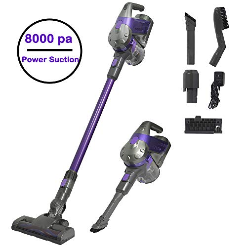 SU-VAC Cordless Vacuum Cleaner, 8000 pa Powerful Suction 2 in 1 Versatile Cyclone Stick & Handheld Lightweight Vacuum Cleaner with Detachable Rechargeable Lithium-Ion Battery and Wall Mount(Purple)