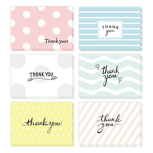 Thank You Flat Note Cards - 48 Pack Assorted Bulk Set of No Fold Modern Greeting Card Postcard Style w/Envelopes & Seal Stickers - Perfect for Baby Shower, Teacher, Graduation, Business - 4x6 Inches