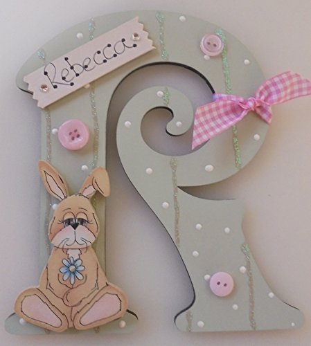 Bunny Rabbit Wooden Letter **ANY LETTER with ANY NAME** Available Personalised (SAGE)