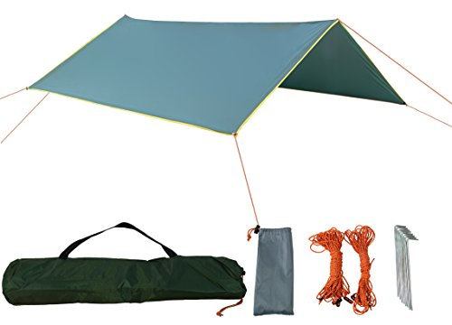 Zoophyter 10 X 10 Ft Versatile Camping Tent Tarp Shelter Hammock Rain Fly  With Guy Line   Stake Kit