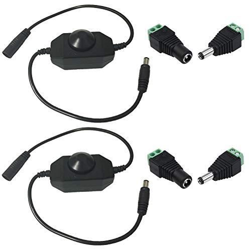 TronicsPros DC 12V-24V 6A LED Strip Dimmer Switch PWM Dimmer Controller DC Jack Adapter Connector LED Connector LED Controller for RGB and Monochrome SMD 5050 3528 2835 5630 LED Strip Light (2pcs)