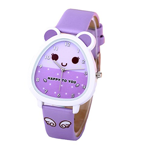 (Girls Watch,Time Teacher Watch with 3D Cartoon Leather Band Watches for Little Teen Girls Kids Toddlers)