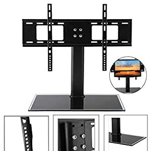 Universal TV Stand LCD LED Plasma Bracket VESA Mount Desktop Monitor Riser Rack Height Adjustable Fit 37-55 Inch Screen Black