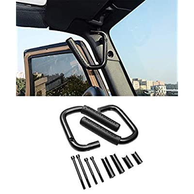 AUTOSAVER88 Front Grab Handles Roll Bar Grip Handles Compatible for Jeep Wrangler JK JKU Unlimited Sports Bubicon Sahara 2007-2020 2/4 Doors-Pair(Black): Automotive