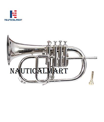 Nickel Plated Bb Flat 4 Valve Flugel Horn + Free Hard Case + Mouthipice