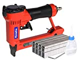 """Pneumatic Upholstery Staple Gun, 21 Gauge 1/2"""" Wide Crown Air Stapler Kit, by 1/4-Inch to 5/8-Inch, 1/4-Inch to 5/8-Inch, with 3000 Staples"""