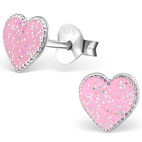 JAYARE® Boucles d'oreilles Enfants coeurs amour 7 x 7 mm Email argent sterling 925 rose avec étui de cadeau clou d'oreilles fille
