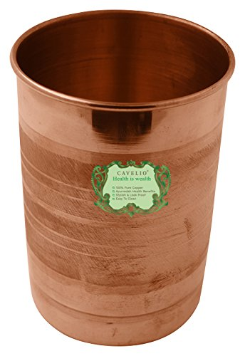 Cavelio Handmade Pure Copper Glass Cup for Drinking Water by Cavelio ®