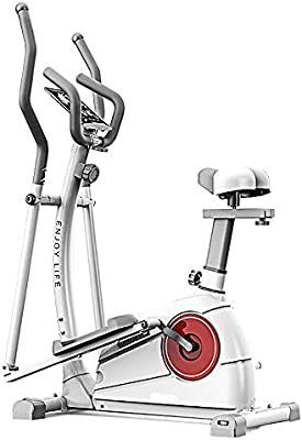 Máquina para hacer ejercicio en el gimnasio en cas 2-en-1 elíptica de la bicicleta estática-Fitness Cardio Pérdida de peso entrenamiento Máquina-Con Asiento (Color : White , Size : Free size) :
