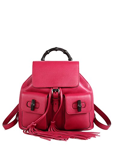 6451c5e0d19c Gucci Bamboo Handle Small Leather Fashion Backpack 370833, Petunia Dark Pink