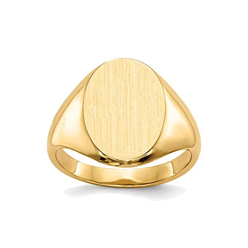 SEVEN50 14mm Mens Womens Stainless Steel High Polish IP Gold Plated Yellow Oval Signet Ring by with Gift Box ()
