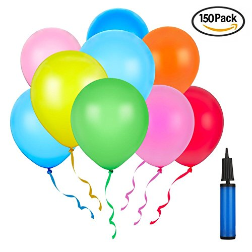 Assorted Colours Latex Balloons (Latex Balloon 12 Inch 150Pcs Party Balloon Assorted Colors with A Big Pump (10 Color x 15, Random,150PCS) …)