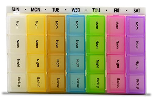 7 Days Pill Organizer Tablet Box Weekly Medication Case Daily AM Morning Noon PM Night Backup Container Compartments Detachable Dispenser (28 Compartments) by CoCo Island