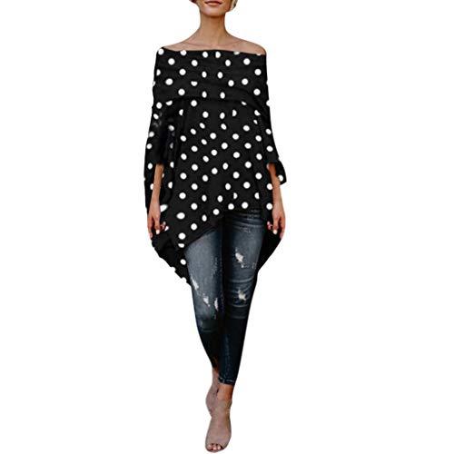 (Willow S Women's Fashion Sexy Causal Off-Shoulder Dot Print Long Sleeve Irregular Hem Loose T-Shift Blouse Tops Black)