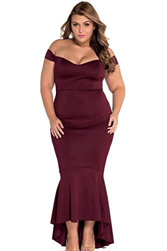 htail Long Evening Dress Off Shoulder Party Dress ((US 16-18) XL, Wine Red) ()
