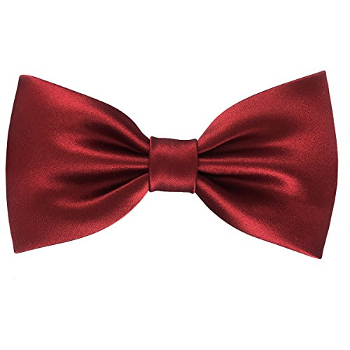 Mens Luxurious 100% Silk Pre-tied Bowtie Solid Bow Ties Various Colors (Red) ()