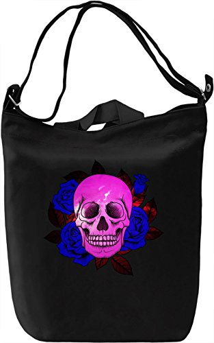 Skull And Roses Borsa Giornaliera Canvas Canvas Day Bag| 100% Premium Cotton Canvas| DTG Printing|