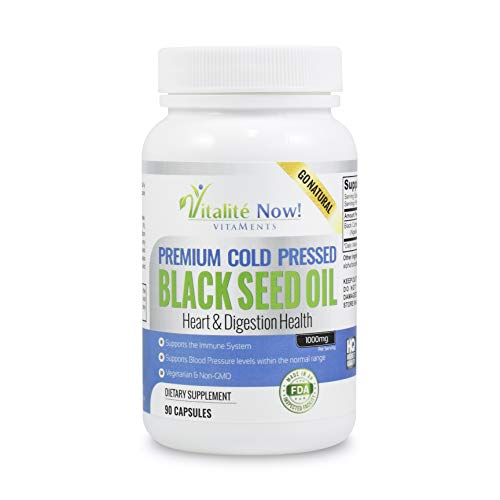 Pure Black Seed Oil - Immunity - Anti-Inflammatory - Antimicrobial - Antioxidant - Heart & Digestion Health - Cold Pressed Nigella Sativa Black Cumin Seed - 500mg (1,000mg p/s) - Non-GMO & Veg (P Black Capsules)