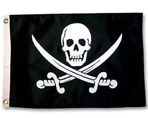 Rackham Flag Jack Calico - Jolly Roger Calico Jack Rackham Pirate 12x18 Boat Flag indoor/outdoor