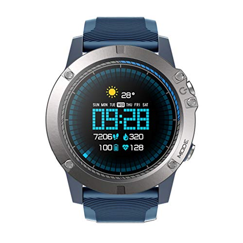 QIUSge PRO Smart Watch, 1.3Inch Waterproof Sports Bracelet for Android iOS, 2019 (Blue)