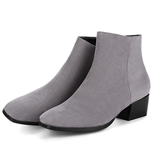 Ankle Block Dress Winter TAOFFEN Boots Gray Women Autumn Fashion Heel Shoes 8qTS1P