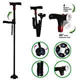 Urge Medical Clever Cane with LED Light,Travel Adjustable Folding Canes, Security Alarm, Two Cushion Handles - Foldable, Light Weight Walking Stick for Arthritis Seniors Disabled and Elderly