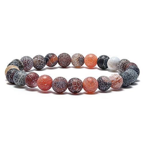 M MOOHAM Natural StonesBeads Bracelet, 8mm Natural Onyx Stones Beads Bracelet, Men Women Stress Relief Yoga Beads Elastic Bracelet Energy Stone Gemstone Agate Beads Bracelet