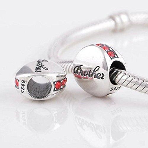 """I Love """"Frère"""" cristal rouge en argent sterling 925pour bracelet Pandora Charms"""