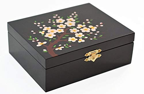 (Coin and Coins Cherry Blossom Pink on Black Wood Lacquered)