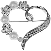 Dwcly Cluster Love Heart Pearl Brooch Pin Wedding Party Clothes Accessories