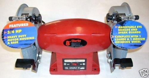 Clarke BT2004 Metal Worker 8'' Bench Grinder Dual Wheel 120V, 3/4 HP, 3.6 Amp by Clarke