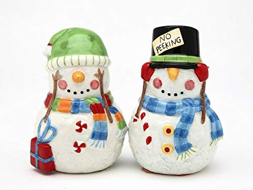 Fine Ceramic Hand Painted No Peeking Design Mr. & Mrs. Snowman Couple Salt and Pepper Shakers Set, 3-3/8