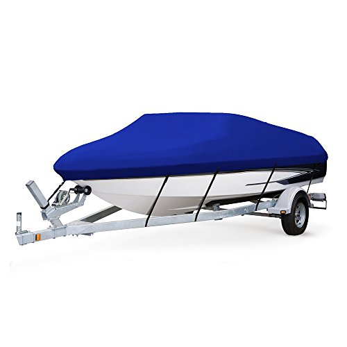 Dulcii Blue Color Heavy Duty 210D Water Proof Boat Cover Trailer Fishing Ski Covers, (17-19ft)