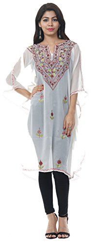 Odishabazaar Free Size Tunic Casual Georgette Kashmiri Kaftan Party Wear Dress For Women - Mall Stores Plains White At