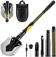 OKOOLCAMP Survival Camping Shovel Multifunctional Folding Shovel 15-28inch Heavy Duty Alloy Steel Tactical Sho
