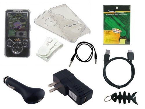 Nwz S630 Series (iShoppingdeals- 8 Items Premium Accessory Combo(includes: Universal Car Charger + Universal Wall Charger + usb data straight cable + Clear Crystal Case + Belt Clip + Screen Protector +3.5mm~3.5mm straight Auxiliary mp3 cable +Fishbone Style Keychain) for Sony Walkman NWZ S630 or S730 Series (S636, S638, S639, S736, S738, S739))